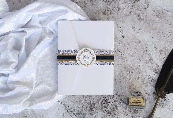 Convite de casamento - azul marinho, azulejo