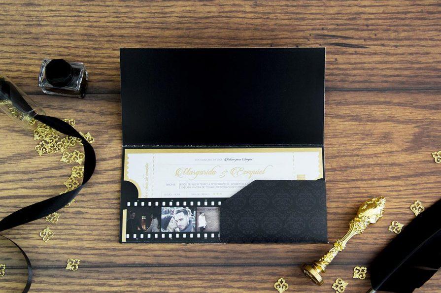 Convite de Casamento Bilhete de Cinema personalizado, idealizado e produzido pela Ideia Genial, especialista em convites de casamento personalizados e datas especiais.