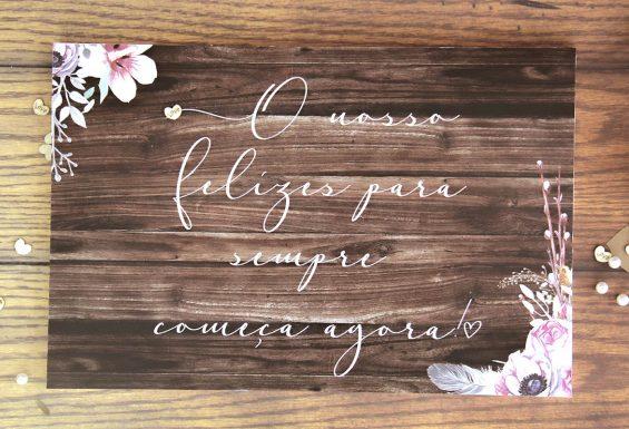 Placa de Entrada para Casamento, idealizado e produzido pela Ideia Genial, especialista em convites de casamento personalizados e datas especiais.